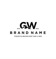 Letter gw mountain logo design vector