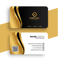 Luxury business card with golden wave design vector
