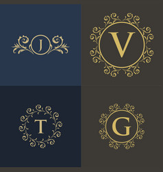 Luxury floral decorative logo vector