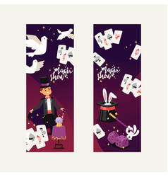 Magician show magic man or magical on backdrop vector