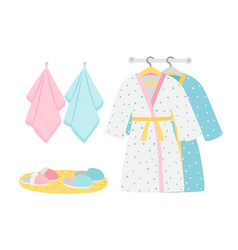 male and female bathrobes slippers and towels vector image