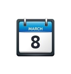 March 8 Calendar icon flat vector