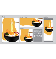 mock up realistic design hot noodle with shrimp vector image
