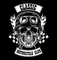 Motorcycle club badge with skull wearing helmet vector
