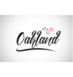 Oakland city design typography with red heart vector