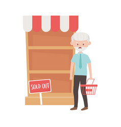 Old man shopping with basket shelf and sold out vector