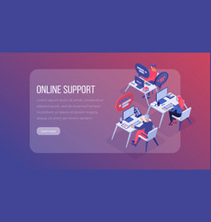 online support center isometric landing page vector image