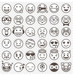 outlined black and white emoji set 2 vector image