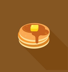 Pancake with syrup and butter on top vector