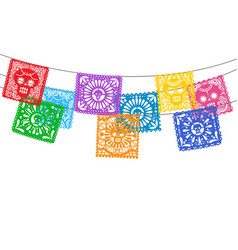papel picado bunting flags vector image