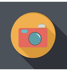 Paper flat icon with a shadow photo camera vector