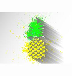 pineapple splash with leaf logo icon heart shape vector image