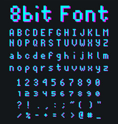 pixel game font retro styled vector image