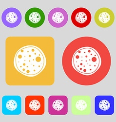 Pizza Icon 12 colored buttons Flat design vector image