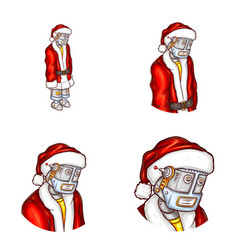 pop art avatar of christmas robot vector image