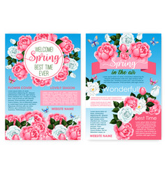 Posters for spring holiday of roses flowers vector