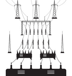 power grid substation vector image