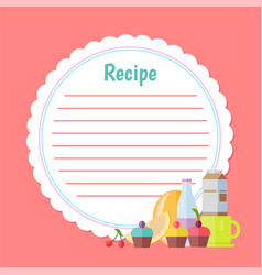 recipe list with dessert and drink cake vector image