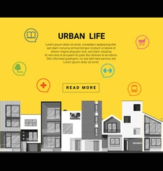 Residential banner and flat icon for web design vector