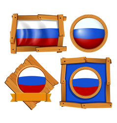 russia flag on different frames vector image