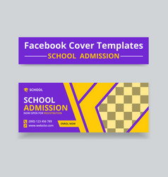 School admission facebook cover template design vector