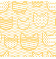 Seamless lace pattern with cats vintage textile vector