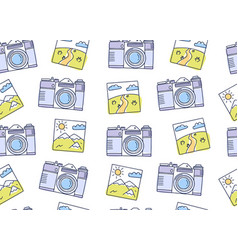 seamless pattern with cameras and photos vector image