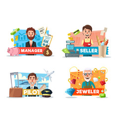 seller pilot manager jeweler professions vector image