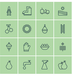 Set 16 planting icons includes hanger vector