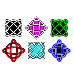 set celtic knot sign interlocked circles logo vector image