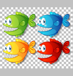 set different color exotic fish cartoon vector image