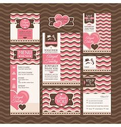 Set of modern wedding cards vector