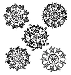 Set with round pattern from decorated turtles vector