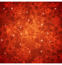 shiny red snowflakes seamless pattern vector image