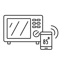 smart microwave icon outline style vector image