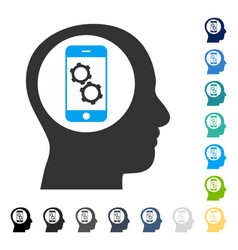 Smartphone mind control icon vector