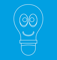 smiling light bulb with eyes icon outline vector image vector image