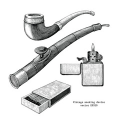 smoker device hand drawing vintage clip art vector image