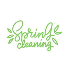spring cleaning hand drawn line trendy lettering vector image