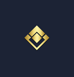 Square geometry abstract gold logo vector