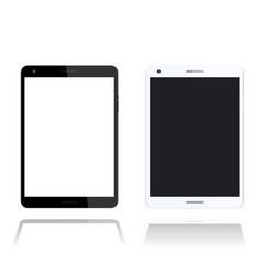 Tablet over white screen with thin frame vector