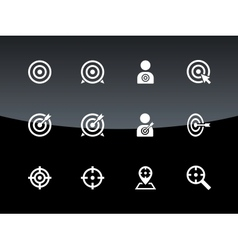 Target icons on black background vector image