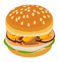 tasty burger icon isometric style vector image