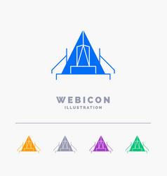 Tent camping camp campsite outdoor 5 color glyph vector