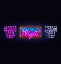 Trivia night neon sign quiz time design vector