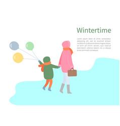 Turning back people walking in wintertime vector