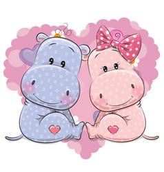 two cute cartoon hippos vector image