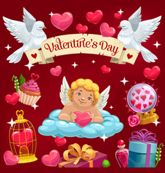 Valentine day cupid angel and love heart on cloud vector