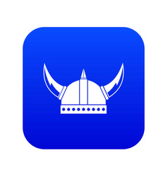 Viking helmet icon digital blue vector