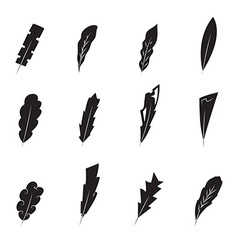 Vintage feathers silhouette vector